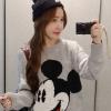 เสื้อแฟชั่นเกาหลีน่ารักๆ เสื้อแขนยาวไหมพรม สีเทาพิมพ์ลายมิ้กกี้เมาส์