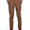 กางเกงสแล็คผู้ชายสีน้ำตาลทอง ผ้ายืด ทรงกระบอกเล็ก