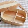 Portable Shiraki bending magewappa bento box กล่องข้าวญี่ปุ่นวงรีเหลี่ยมสีไม้ 1 ชั้น