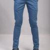 กางเกงสแล็คผู้ชายสีฟ้า ผ้ายืด ขาเดฟ