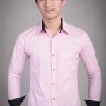 เสื้อเชิ้ตผู้ชายลายทางสีชมพู ผ้าคอตตอน