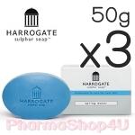 (ซื้อ3 ราคาพิเศษ) (Spring Water) HARROGATE Sulphur Soap 50g ฮาโรเกต สบู่ซัลเฟอร์ สบู่น้ำแร่ ใช้ได้ทั้งหน้าและตัว ปัญหาสิว ผิวมัน ผื่นคัน ผื่นแพ้ ผิวอักเสบ เอาอยู่