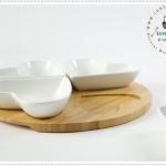 Heart Ceramic with wood tray dish set เซตถาดไม้กับเซรามิครูปหัวใจ