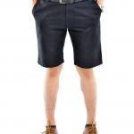 กางเกงขาสั้นผู้ชายสีดำ ผ้าฟอกนิ่ม