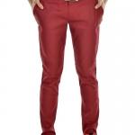 กางเกงสแล็คผู้ชายสีแดงเลือดหมู ผ้ายืด ขาเดฟ