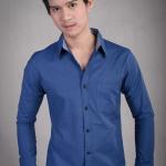 เสื้อเชิ้ตผู้ชายสีน้ำเงิน ผ้า Oxford
