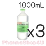 (ซื้อ3 ราคาพิเศษ) K&K NSS 0.9% Sodium Chloride น้ำเกลือบริสุทธิ์ 1000mL ใช้สำหรับ ล้างตา ล้างแผล แช่คอนแทคเลนส์ ใช้เช็ดหน้ากำจัดสิว ล้างจมูก ป้องกันภูมิแพ้