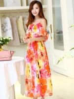 ชุดไปเที่ยวทะเล สีส้มลายดอกไม้ สายเดี่ยว อกแต่งระบาย แขนคล้อง ผ้าชีฟอง สวยๆ สวมใส่สบายๆ