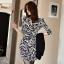 ชุดเดรสทำงานสไตล์เกาหลีสีขาว-ดำ แขนยาว เข้ารูป เหมาะกับสาวออฟฟิศสวยมั่น
